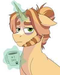 Size: 2190x2738 | Tagged: safe, artist:itstechtock, oc, oc:cuppa joe, pony, unicorn, pandoraverse, bags under eyes, beard, coffee mug, facial hair, floppy ears, glowing horn, horn, levitation, looking at you, magic, male, mug, offspring, parent:cinnamon chai, parent:donut joe, parents:cinnamon donut, simple background, solo, stallion, telekinesis, transparent background