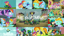 Size: 1978x1114 | Tagged: safe, edit, edited screencap, editor:quoterific, screencap, alula, bon bon, bow hothoof, daisy, flower wishes, lightning dust, noi, pluto, rainbow dash, rolling thunder, scootaloo, short fuse, snails, snips, spitfire, sweetie drops, twilight sparkle, windy whistles, written script, alicorn, earth pony, pegasus, pony, the washouts (episode), clothes, eyes closed, growling, male, open mouth, the washouts, twilight sparkle (alicorn), uniform, washouts uniform