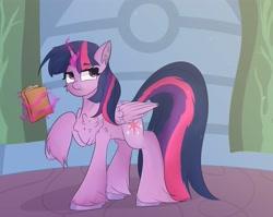 Size: 4096x3259   Tagged: safe, artist:ponyangle, twilight sparkle, alicorn, pony, unicorn, book, confused, female, fluffy, glowing horn, horn, magic, magic aura, mare, solo, twilight sparkle (alicorn), unshorn fetlocks