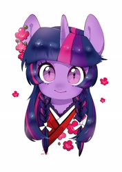 Size: 2480x3508 | Tagged: safe, artist:potetecyu_to, twilight sparkle, pony, alternate hairstyle, braid, braided pigtails, bust, closed mouth, clothes, cute, female, flower, high res, kimono (clothing), looking at you, mare, portrait, simple background, solo, twiabetes, white background