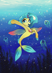 Size: 870x1200 | Tagged: safe, artist:skyeypony, princess skystar, jellyfish, seapony (g4), my little pony: the movie, bioluminescent, blue eyes, bubble, crepuscular rays, cute, eyelashes, female, fin wings, fins, fish tail, flower, flower in hair, flowing mane, freckles, jewelry, necklace, open mouth, pearl necklace, seaweed, signature, skyabetes, smiling, solo, sunlight, tail, underwater, water, wings