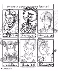 Size: 2480x3064 | Tagged: safe, artist:hybridson, discord, draconequus, human, bone, brook, bust, clothes, crossover, eye scar, geralt of rivia, hisoka, hunter x hunter, lineart, lucifer, male, monochrome, my hero academia, obey me! one master to rule them all, one piece, open mouth, scar, shoto todoroki, shrug, six fanarts, skeleton, sketch, smiling, the witcher