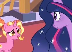 Size: 1004x720   Tagged: safe, artist:frisk.mlp, luster dawn, twilight sparkle, alicorn, pony, unicorn, the last problem, bags under eyes, cute, ethereal mane, eyelashes, female, frown, indoors, lusterbetes, mare, older, older twilight, open mouth, princess twilight 2.0, smiling, starry mane, twilight sparkle (alicorn)