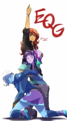 Size: 1377x2500   Tagged: safe, artist:oberon826, starlight glimmer, sunset shimmer, trixie, human, equestria girls, beanie, boots, clothes, hat, jojo's bizarre adventure, pose, shoes, sweat, sweatdrop