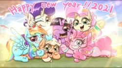 Size: 2100x1181 | Tagged: safe, alternate version, artist:phoenixrk49, applejack, fluttershy, pinkie pie, rainbow dash, rarity, twilight sparkle, alicorn, earth pony, pegasus, unicorn, 2021, cloud, english, happy new year, happy new year 2021, holiday, mane six, new year, one eye closed, open mouth, sky