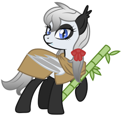 Size: 3113x3000   Tagged: safe, alternate version, artist:magnusmagnum, oc, oc only, oc:bamboo mistshadow, bat pony, bear, panda, panda pony, bamboo, bat pony oc, bat wings, bow, cape, clothes, cutie mark, ear fluff, fangs, looking at you, raised hoof, ribbon, show accurate, simple background, smiling, solo, transparent background, wings
