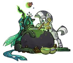 Size: 380x329 | Tagged: safe, artist:fizpup, queen chrysalis, zecora, changeling, changeling queen, zebra, caught, cauldron, cute, cutealis, duo, ear piercing, earring, female, glowing horn, horn, jewelry, magic, mare, mouth hold, neck rings, piercing, potion, potion making, quadrupedal, simple background, telekinesis, white background, zecorable