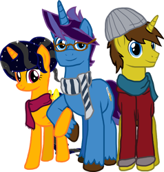 Size: 1200x1260   Tagged: safe, artist:crisostomo-ibarra, oc, oc only, oc:cyber gamer, oc:midnight shadows, oc:paint sketch, alicorn, pony, unicorn, alicorn oc, clothes, female, glasses, horn, jacket, male, mare, scarf, simple background, smiling, stallion, transparent background, trio, wings