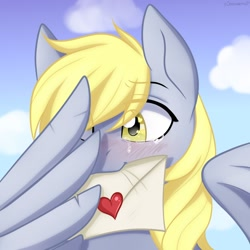 Size: 1024x1024 | Tagged: safe, artist:chickenbrony, derpy hooves, pegasus, pony, blushing, bust, crying, cute, derpabetes, envelope, heart, heart eyes, letter, love letter, portrait, sad, sadorable, solo, sweet dreams fuel, tears of joy, wingding eyes
