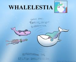 Size: 627x513 | Tagged: safe, artist:banebuster, princess celestia, spike, twilight sparkle, blue whale, fish, sperm whale, squid, whale, series:tiny tia, animal, screencap reference, species swap, wat, whalelestia