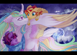 Size: 1050x750 | Tagged: safe, artist:castaspellliana, princess celestia, sunset shimmer, twilight sparkle, alicorn, pony, alicornified, alternate universe, baby carrier, canterlot, curved horn, eye contact, family, female, filly, filly sunset shimmer, filly twilight sparkle, floppy ears, foal, full moon, horn, looking at each other, mare, mare in the moon, momlestia, moon, mother and child, mother and daughter, night, race swap, shimmercorn, siblings, sisters, sleeping, smiling, spread wings, tower, trio, wing hold, wings, younger