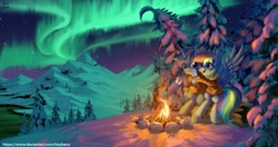 Size: 1920x1013   Tagged: safe, artist:tinybenz, rainbow dash, oc, oc:dopami korpela, pegasus, pony, unicorn, aurora borealis, campfire, canon x oc, clothes, dopadash, female, food, forest, horn, male, mare, marshmallow, mountain, night, scenery, scenery porn, shipping, snow, stallion, straight, tree, unicorn oc, wings, winter