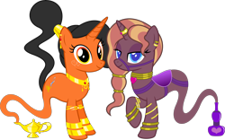 Size: 6428x4000 | Tagged: safe, artist:parclytaxel, oc, oc only, oc:amani, oc:zirithustra, genie, genie pony, pony, unicorn, 2021 community collab, derpibooru community collaboration, .svg available, absurd resolution, bottle, bracelet, bridle, collar, ear piercing, earring, female, horn, horn ring, jewelry, lamp, lidded eyes, looking at you, magic lamp, mare, neck rings, piercing, ponytail, raised hoof, ring, saddle, simple background, smiling, tack, transparent background, vector, wrist cuffs