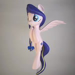 Size: 1024x1024 | Tagged: safe, artist:mraagh, oc, oc only, oc:azure serenity, pegasus, pony, 3d, 3d print, 3d printed, blender, bow, braid, commission, cute, cutie mark, eyes open, female, figure, figurine, floating, flying, hair bow, happy, irl, long mane, long tail, mare, multicolor hair, multicolored hair, multicolored mane, open eyes, painted, photo, pink coat, purple mane, simple background, solo, spread wings, statue, turquoise eyes, wavy tail, wings