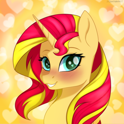 Size: 1024x1024 | Tagged: safe, artist:chickenbrony, sunset shimmer, pony, unicorn, blushing, bust, cute, female, heart, icon, looking at you, mare, portrait, shimmerbetes, smiling, solo