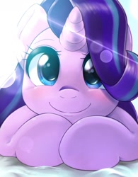Size: 1200x1536 | Tagged: safe, artist:kurogewapony, starlight glimmer, pony, unicorn, blushing, bust, close-up, crepuscular rays, cute, female, glimmerbetes, hair over one eye, looking at you, lying down, mare, portrait, prone, simple background, smiling, solo, weapons-grade cute