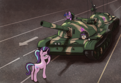 Size: 1720x1180 | Tagged: safe, artist:t72b, starlight glimmer, twilight sparkle, oc, oc:tenk pone, earth pony, pony, unicorn, annoyed, boop, historical roleplay starlight, looking at you, parody, self-boop, tank (vehicle), tank man, this ended in death, this ended in pain, this will end in genocide, tiananmen square, twilight is not amused, type 59, unamused