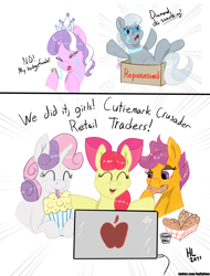 Size: 1986x2613   Tagged: safe, artist:huffylime, apple bloom, diamond tiara, scootaloo, silver spoon, sweetie belle, earth pony, pegasus, pony, unicorn, apple (company), box, chicken tenders, computer, crying, cutie mark crusaders, eyes closed, female, filly, food, happy, laptop computer, meat, milkshake, money, open mouth, ponies eating meat, scootachicken, stock market, tendies