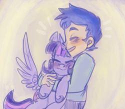 Size: 931x812 | Tagged: safe, artist:mimiporcellini, flash sentry, twilight sparkle, alicorn, human, pony, equestria girls, colored sketch, eyes closed, female, flashlight, holding a pony, hug, human flash sentry x pony twilight, interspecies, male, shipping, straight, twilight sparkle (alicorn)