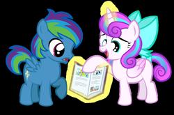 Size: 1280x843   Tagged: safe, artist:aleximusprime, screencap, princess flurry heart, oc, oc:storm streak, alicorn, pegasus, flurry heart's story, book, bow, calming of the storm, colt, female, filly, journal of friendship, magic, male, offspring, parent:oc:thunderhead, parent:rainbow dash, parent:thunderlane, parents:canon x oc, parents:thunderdash
