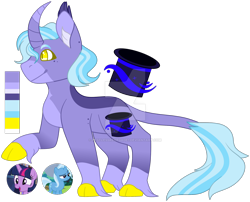 Size: 1920x1553 | Tagged: safe, artist:restlessrenegade1, trixie, twilight sparkle, oc, oc only, classical unicorn, unicorn, cloven hooves, curved horn, deviantart watermark, ear fluff, female, freckles, horn, leonine tail, lesbian, magical lesbian spawn, obtrusive watermark, offspring, parent:trixie, parent:twilight sparkle, parents:twixie, raised hoof, reference sheet, shipping, simple background, smiling, solo focus, transparent background, twixie, unshorn fetlocks, watermark