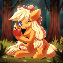 Size: 4000x4000 | Tagged: safe, artist:ask-colorsound, applejack, earth pony, pony, :p, apple, applejack's hat, blonde hair, chest fluff, cowboy hat, cute, ear fluff, eyelashes, female, food, grass, hat, jackabetes, leg fluff, looking at something, magnifying glass, mane, mare, one eye closed, outdoors, sitting, solo, tail, that pony sure does love apples, tongue out, tree