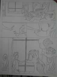 Size: 1944x2592 | Tagged: safe, artist:princebluemoon3, oc, oc:candy clumsy, oc:rainbow candy, oc:rainbow tashie, oc:tommy the human, earth pony, human, pegasus, pony, comic:sisterly silliness, black and white, butt, canterlot, canterlot castle, castle, child, clothes, comic, commissioner:bigonionbean, confused, crying, cutie mark, dialogue, extra thicc, female, flank, fusion, fusion:rainbow candy, grayscale, hallway, heartbreak, human oc, looking at you, lying down, male, mare, monochrome, nervous, overreaction, petting, plot, sad, shocked, shocked expression, sniffing, sobbing, stare down, staring into your soul, teary eyes, thought bubble, traditional art, window, writer:bigonionbean