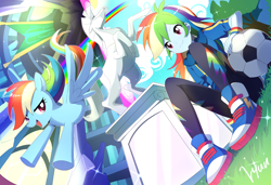 Size: 2048x1404 | Tagged: safe, alternate version, artist:ryuu, rainbow dash, pegasus, pony, equestria girls, equestria girls series, canterlot high, converse, female, football, mare, open mouth, rainbow dash day, self ponidox, shoes, smiling