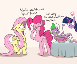 Size: 2400x2000 | Tagged: safe, artist:rocket-lawnchair, fluttershy, pinkie pie, spike, twilight sparkle, dragon, earth pony, pegasus, pony, dialogue, female, high res, male, mare, pun, smiling, spiked punch