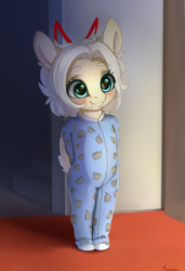 Size: 2106x3078 | Tagged: safe, artist:miokomata, oc, oc:clay, earth pony, semi-anthro, arm behind back, blushing, clothes, cute, female, filly, footed sleeper, footie pajamas, ocbetes, onesie, pajamas, solo