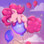 Size: 1280x1280 | Tagged: safe, artist:fluterloo, pinkie pie, earth pony, pony, balloon, chibi, cloud, cute, deviantart watermark, diapinkes, ear fluff, eyes closed, female, floating, mare, obtrusive watermark, ponk, sky, sleeping, solo, then watch her balloons lift her up to the sky, watermark