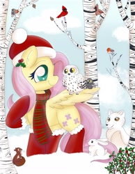 Size: 2480x3189   Tagged: safe, artist:therainbowtroll, fluttershy, bird, fox, owl, pegasus, pony, rabbit, squirrel, animal, birch, christmas, clothes, cute, daaaaaaaaaaaw, female, hat, head turned, holiday, holly, looking at someone, mare, one wing out, outdoors, profile, raised hoof, santa hat, scarf, shyabetes, sitting on wing, smiling, snow, stockings, thigh highs, tree, wings, winter, winter outfit