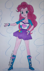 Size: 1333x2164 | Tagged: safe, artist:amyrosexshadowlover, pinkie pie, equestria girls, boots, bracelet, clothes, cutie mark, cutie mark on clothes, eyelashes, female, grin, high heel boots, jewelry, shoes, signature, skirt, smiling, solo, traditional art
