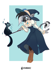 Size: 1060x1500   Tagged: safe, artist:kez, oc, oc only, cat, zebra, anthro, unguligrade anthro, boots, clothes, cute, dress, ear fluff, ear piercing, earring, female, halloween, hat, holiday, jewelry, ocbetes, piercing, shoes, simple background, solo, sparkles, wand, white background, witch, witch hat, zebra oc