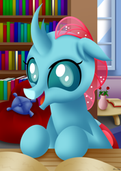 Size: 2480x3508 | Tagged: safe, artist:leonkay, ocellus, changedling, changeling, book, bookbug, bookshelf, cute, diaocelles, flower, happy, leonkay is trying to murder us, library, pillow, smiling, solo, weapons-grade cute, window