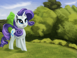 Size: 4000x3000 | Tagged: safe, artist:flusanix, rarity, pony, unicorn, female, high res, mare, outdoors, smiling, solo