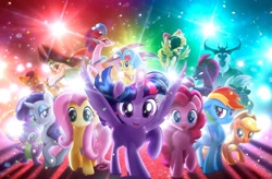 Size: 1600x1052 | Tagged: safe, applejack, capper dapperpaws, captain celaeno, fluttershy, grubber, pinkie pie, princess skystar, queen novo, rainbow dash, rarity, songbird serenade, spike, storm king, tempest shadow, twilight sparkle, abyssinian, alicorn, bird, dragon, earth pony, parrot, parrot pirates, pegasus, pony, seapony (g4), unicorn, anthro, my little pony: the movie, alicorn princess, angry, armor, beauty mark, bow, broken horn, caption, cowboy hat, ear piercing, earring, female, flying, hair bow, hat, horn, jewelry, looking at you, male, mane seven, mane six, mare, my little pony logo, official, piercing, pirate, pirate hat, promotional art, spanish description, spread wings, standing, sword, text, twilight sparkle (alicorn), wall of tags, weapon, wings