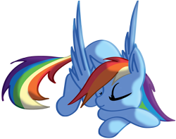 Size: 2574x2030 | Tagged: safe, artist:silverwolvesforever, rainbow dash, pegasus, pony, crossed hooves, cute, dashabetes, eyes closed, female, lying down, mare, prone, simple background, sleeping, solo, transparent background