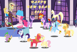 Size: 4320x2880 | Tagged: safe, anonymous artist, applejack, big macintosh, discord, fluttershy, pinkie pie, rainbow dash, rarity, spike, starlight glimmer, sunburst, twilight sparkle, oc, oc:late riser, alicorn, draconequus, earth pony, pegasus, pony, unicorn, series:fm holidays, 2021, alcohol, aunt and nephew, baby, baby pony, bipedal, champagne, champagne glass, cider, cider dash, colt, cork, dancing, discord being discord, drink, drunk, drunk bubbles, drunker dash, eyes closed, female, fireworks, fluttermac, happy new year, happy new year 2021, high res, holding a pony, holiday, jug, kissing, lamp, lampshade, lightbulb, male, mane seven, mane six, mare, new year, offspring, pacifier, parent:big macintosh, parent:fluttershy, parents:fluttermac, pointy ponies, punch (drink), punch bowl, shipping, stallion, straight, twilight sparkle (alicorn), wine