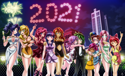 Size: 4000x2408 | Tagged: safe, artist:mauroz, apple bloom, applejack, fluttershy, pinkie pie, rainbow dash, rarity, scootaloo, spike, sunset shimmer, sweetie belle, twilight sparkle, human, 2021, absolute cleavage, absurd file size, anime, belly button, breasts, busty applejack, busty fluttershy, busty pinkie pie, busty rarity, busty sunset shimmer, busty twilight sparkle, cleavage, clothes, cutie mark crusaders, dress, female, fireworks, happy new year 2021, humanized, jealous, male, mane seven, mane six, midriff, new year, party, scootalove, shipping, side slit, spikebelle, straight, suit