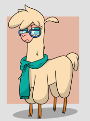 Size: 792x1060 | Tagged: safe, artist:hitsuji, oc, oc:shio (hitsuji), alpaca, them's fightin' herds, clothes, cloven hooves, community related, female, glasses, looking at you, paprika paca is not amused, scarf, simple background, solo, tfh oc
