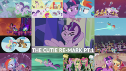 Size: 1972x1110   Tagged: safe, edit, edited screencap, editor:quoterific, screencap, applejack, berry punch, berryshine, cayenne, citrus blush, coco crusoe, dark moon, dee six, distant star, dumbbell, electric sky, fluttershy, graphite, honey lemon, hoops, king sombra, minty hearts, miss hackney, mochaccino, moondancer, moonlight raven, neon lights, orion, pinkie pie, pokey pierce, polo play, ponet, princess celestia, rainbow dash, rare find, rarity, rising star, royal riff, shooting star (character), spike, starlight glimmer, stella nova, twilight sparkle, alicorn, earth pony, pegasus, pony, unicorn, the cutie re-mark, alternate timeline, amputee, apocalypse dash, artificial wings, augmented, baby, baby spike, chrysalis resistance timeline, colt, crystal war timeline, female, filly, filly applejack, filly fluttershy, filly pinkie pie, filly rainbow dash, filly rarity, filly twilight sparkle, glowing horn, helmet, horn, las pegasus resident, levitation, magic, male, mane seven, mane six, mare, mind control, prosthetic limb, prosthetic wing, prosthetics, royal guard, self-levitation, sombra soldier, stallion, telekinesis, twilight sparkle (alicorn), welcome home twilight, wings, younger