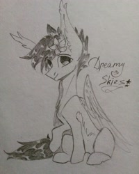Size: 3120x3900 | Tagged: safe, artist:jsunlight, artist:julia-sunlight, oc, oc only, oc:dreamer skies, pegasus, flower, gift art, hair accessory, looking at you, monochrome, pegasus oc, sitting, smiling, solo, traditional art, wings