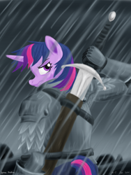 Size: 1800x2400 | Tagged: safe, artist:rockhoppr3, twilight sparkle, unicorn, anthro, armor, knight, looking at you, looking back, looking back at you, rain, solo, sword, weapon