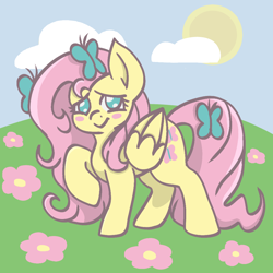 Size: 1000x1000 | Tagged: safe, artist:essehm2u, fluttershy, butterfly, pegasus, pony, blush sticker, blushing, cute, female, flower, folded wings, grass, hair accessory, looking at you, mare, no pupils, outdoors, raised hoof, shyabetes, sky, smiling, standing, sun, three quarter view, wings