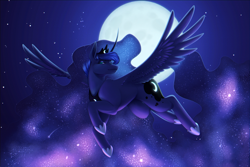 Size: 7500x5000   Tagged: safe, artist:mittz-the-trash-lord, princess luna, alicorn, pony, absurd file size, absurd resolution, chromatic aberration, crown, ethereal mane, female, flying, full moon, galaxy mane, jewelry, mare, moon, night, night sky, redraw, regalia, sky, solo, spread wings, starry night, stars, wings