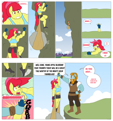 Size: 2048x2195 | Tagged: safe, artist:matchstickman, apple bloom, rockhoof, earth pony, anthro, plantigrade anthro, tumblr:where the apple blossoms, abs, apple bloom's bow, apple brawn, armpits, back muscles, biceps, bow, breasts, busty apple bloom, cliff, cliffhanger, climbing, clothes, comic, deltoids, dialogue, duo, endurance test, falling, female, fingerless gloves, gloves, gritted teeth, hair bow, literal cliffhanger, male, mare, matchstickman's apple brawn series, mountain, mountain range, muscles, older, older apple bloom, panting, rock, screaming, shoes, shorts, speech bubble, sports bra, stallion, sweat, sweatdrop, thighs, thunder thighs, tumblr comic, wrist grab