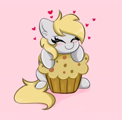 Size: 4096x4028 | Tagged: safe, artist:kittyrosie, derpy hooves, pegasus, pony, cute, daaaaaaaaaaaw, derpabetes, eyes closed, female, food, heart, mare, muffin, solo