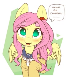 Size: 1051x1218 | Tagged: safe, artist:bunchedupletters, fluttershy, pegasus, pony, :3, abstract background, alternate hairstyle, aoi inuyama, beanbrows, blushing, bronybait, clothes, cute, daaaaaaaaaaaw, eyebrows, hair beads, hair tie, looking at you, open mouth, sailor uniform, school uniform, shyabetes, snaggletooth, solo, speech bubble, spread wings, sweat, sweet dreams fuel, talking to viewer, uniform, weapons-grade cute, wings, yuru camp