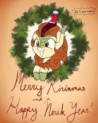 Size: 1600x2000 | Tagged: safe, artist:rocket-lawnchair, autumn blaze, kirin, awwtumn blaze, christmas, christmas wreath, cute, female, hat, holiday, new year, santa hat, smiling, solo, sweet dreams fuel, thought bubble, wreath